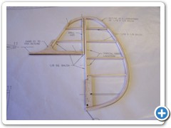 The rudder assembly is framed up over the plans using the wood sizes shown.