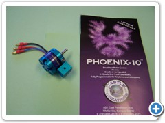 The Himax 2808-890 motor and Castle Creations Phoenix 10 ESC were used in the B-2. This motor and ESC combination works very well on 2 LiPo cells.