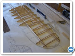 Assemble the center section first, then rock the wing over and build the first panel directly over the plans.