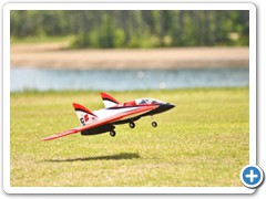 The E-flite Carbon Z comes in for a landing during the noon demos
