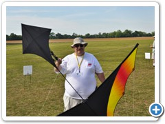 "Chuck Baker with his 90"" Warm Canard flying Kite"