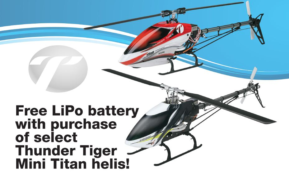 Free ElectriFly 3S 2200mAh 20C Battery with Purchase of Select Thunder Tiger Mini Titan Helicopters