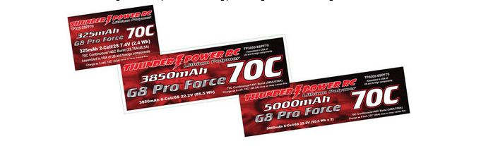 Thunder Power RC G8 Chemistry 70C Lithium Batteries