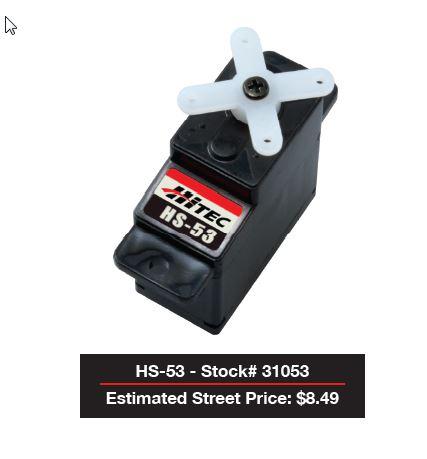 Hitec HS-53 Super-Economy Feather Nylon Gear Analog Servo