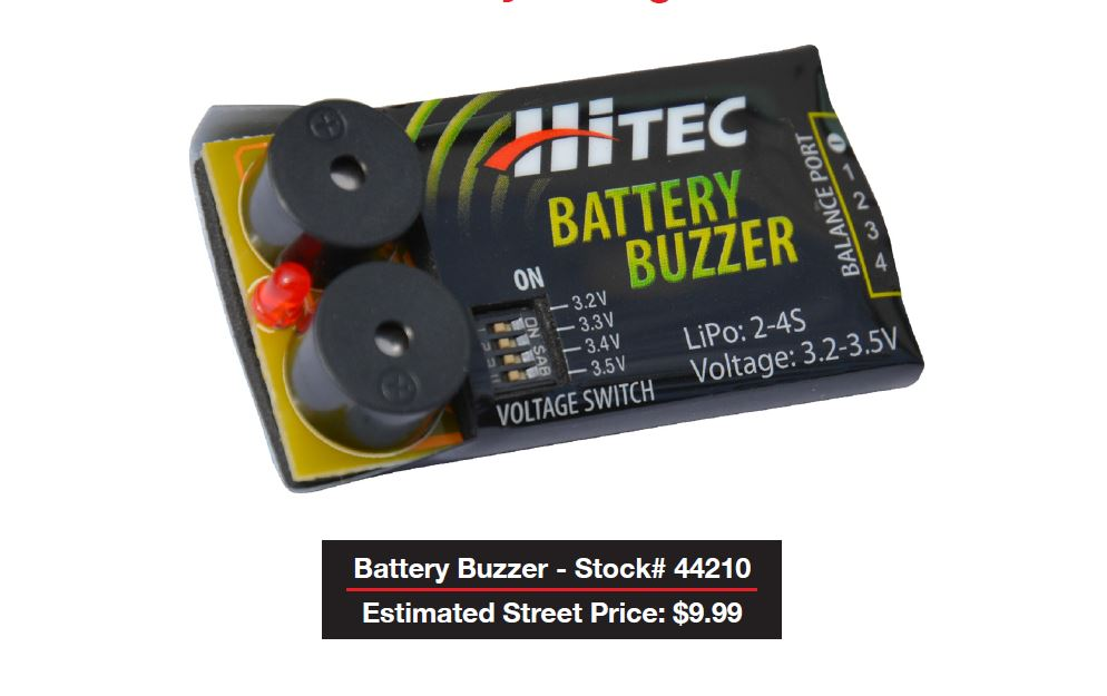 Hitec Battery Buzzer Battery Voltage Alarm