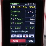 When cycling, you can again navigate between any battery profiles that have been saved as well as vary the charge or discharge currents, waste time and direction of the cycle.