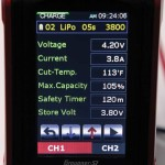 The straight charge menu also offers a full display of all the pertinent numbers such as current, max cell voltage, total charge percentage, storage voltage, cutoff timer and temperature cutoff.