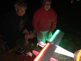 Chris Shaw and Mike Siemonsen ready the Multiplex Fun Cub for some night float flying at Joe Nall.