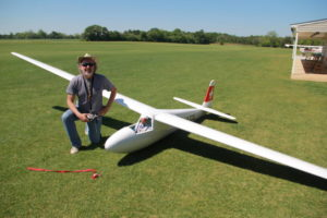 Peter George of St Louis, MO with his half scale Hempel K-6 that spans 7.5 meters, if you can't do that conversion in your head that's a 25 foot wingspan. Despite the size and weight, it flies amazingly slow and can get towed up by a 120 size tow plane.