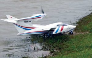 The Flyzone Seawind showed off its amphibious ability by landing on water and then taxiing out onto the shore.