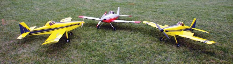 The new Mini Dusters from Extreme Flight RC on display.